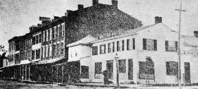 A vintage black and white photo of the British Hotel in Cobourg Ontario